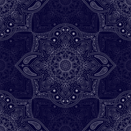 Floral indian paisley pattern vector seamless. Vintage flower ethnic ornament for clothing silk fabric. Oriental folk design for bohemian bedroom textile, yoga wallpaper, india luxury wedding.