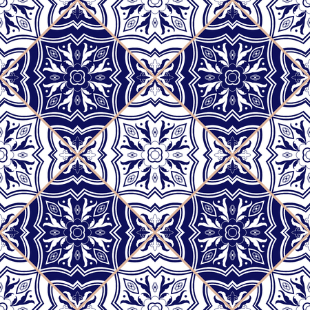 Portuguese tile pattern vector seamless with flower ornaments. Azulejo, mexican puebla talavera, spanish, italian majolica or delft dutch. Tiled texture for kitchen mosaic or bathroom floor ceramic.