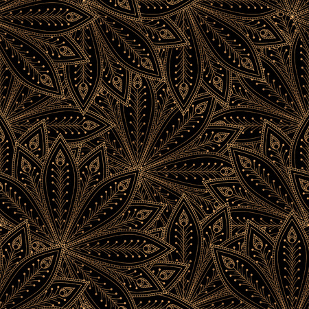 Luxury background vector. Peacock feathers royal pattern seamless. Gold black oriental design for yoga wallpaper, beauty spa salon ornament, bridal shower, indian wedding party, holiday christmas.