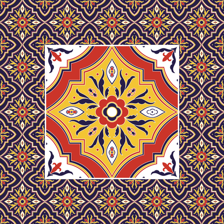 Mexican tile pattern vector with ornaments. Yellow big texture tiled element in center with frame. Portuguese azulejo, mexico puebla talavera ceramic, italian sicily majolica, spanish mosaic.