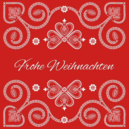 Folk art Holiday card vector template. Frohe Weihnachten - Merry Christmas in German language. Season red background with ornaments design.