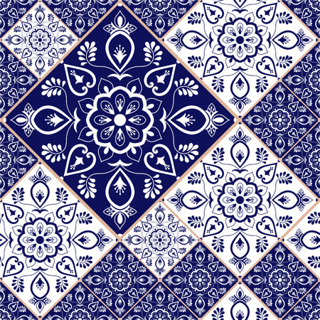 Portuguese tile pattern vector with blue and white ornaments. Portugal azulejo, mexican talavera, spanish or italian majolica. Tiled texture for kitchen or bathroom flooring ceramic background. Ilustração