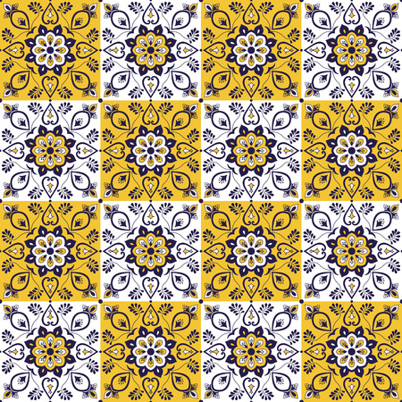 Portuguese tile pattern vector with vintage ornaments. Portugal azulejo, mexican talavera, spanish or italian majolica, moroccan motifs. Tiled texture for kitchen or bathroom flooring ceramic.