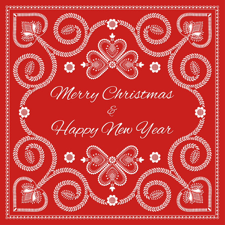 Folk art christmas card vector template. Merry Christmas and Happy New year Ilustração