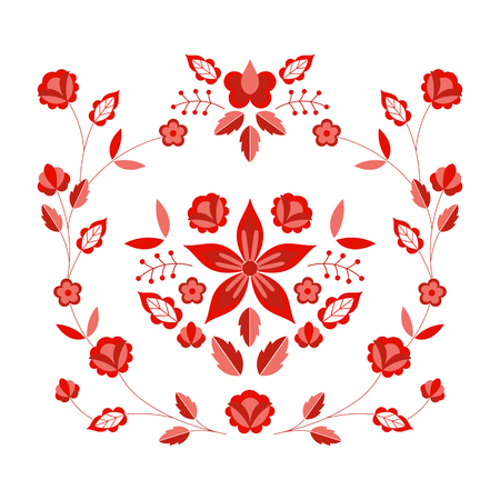 Polish folk pattern vector. Floral ethnic ornament. Slavic eastern european print. Red flower design for bohemian pillow case, fashion boho embroidery clothing, gypsy interior textile, silk scarf. Ilustração