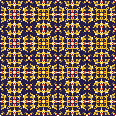 Spanish tile pattern vector with vintage ornaments. Portuguese azulejo, mexican talavera, italian sicily majolica, moroccan motif. Tiled texture background for kitchen or bathroom flooring ceramic. Ilustração
