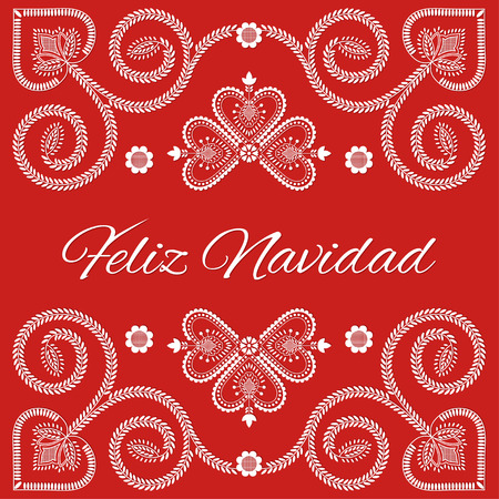 Folk art Holiday card vector template. Feliz Navidad - Merry Christmas in Spanish language. Season red background with ornaments design.