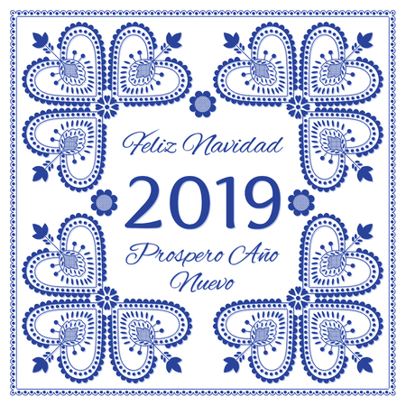 Nordic folk art season card vector template. Feliz Navidad & Prospero Ano Nuevo 2019 - Merry Christmas and Happy New Year in Spanish. Folklore style design background.