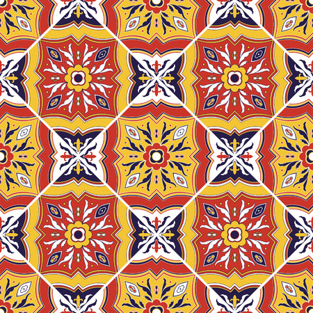 Italian tile pattern vector seamless with flower ornaments. Portuguese azulejo, mexican puebla talavera, sicily italy majolica motif. Tiled texture for ceramic kitchen wall or bathroom mosaic floor. 矢量图像