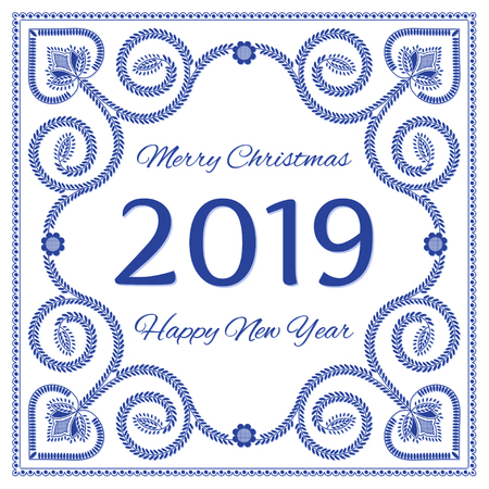 Nordic folk art Christmas card vector template. Merry Christmas and Happy New Year 2019. Scandinavian style, blue and white colors. Design for banner, poster, greeting card, gift tags or background. Ilustração