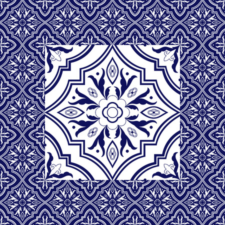 Mexican tile pattern vector ornaments. Flower big texture element in center with frame. Portuguese azulejo, puebla talavera, spanish majolica, italian mosaic, chinese porcelain, delft dutch ceramic. Ilustração