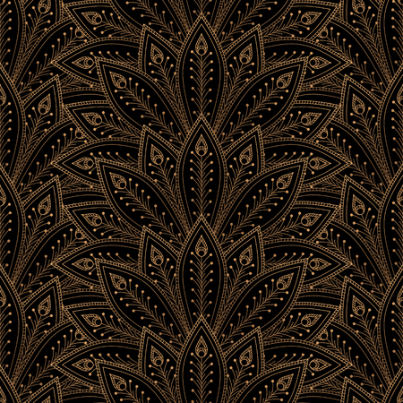 Luxury background vector. Peacock feathers fan royal pattern seamless. Gold black design for yoga wallpaper, beauty spa salon, wedding party invitation, holiday christmas and new year card template. Ilustração