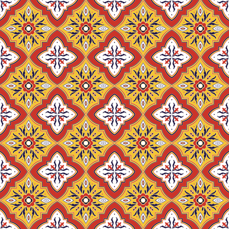 Mexican tile pattern vector seamless with red yellow ornaments. Portuguese azulejo, puebla talavera, spanish or italian majolica. Tiled texture for ceramic kitchen wall or bathroom mosaic floor.