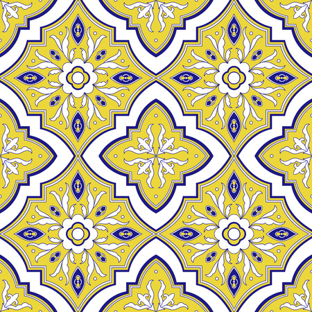 Italian tile pattern vector seamless with yellow and white ornaments. Portuguese azulejo, mexican talavera, spanish majolica motif. Tiled background for ceramic kitchen wall or bathroom mosaic floor.