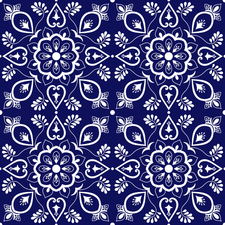 Tile mexican pattern vector with blue and white ornaments. Portuguese azulejo, puebla talavera, spanish, italian majolica or delft dutch motifs. Tiled background for wallpaper, ceramic or fabric. Ilustração