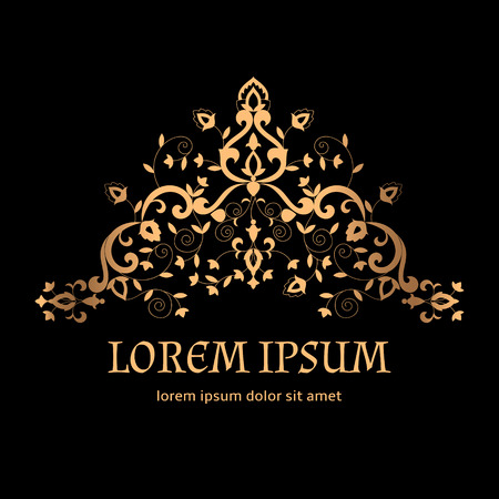 Royal luxury background vector. Vintage arabesque golden border pattern with floral motif. Victorian design for wedding invitation, anniversary card, spa beauty logo, boutique or bridal salon emblem. Imagens - 116862031