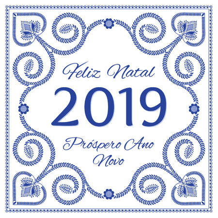 Nordic folk art season card vector template. Feliz Natal & Prospero Ano Novo 2019 - Merry Christmas and Happy New Year in Portuguese. Folklore embroidery style, blue and white design colors.
