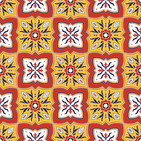 Mexican tile pattern vector seamless with flower ornaments. Portuguese azulejo, puebla talavera, italian majolica motifs. Ceramic texture for kitchen wall, bathroom mosaic floor or mexico tablecloth.