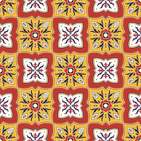 Mexican tile pattern vector seamless with flower ornaments. Portuguese azulejo, puebla talavera, italian majolica motifs. Ceramic texture for kitchen wall, bathroom mosaic floor or mexico tablecloth.
