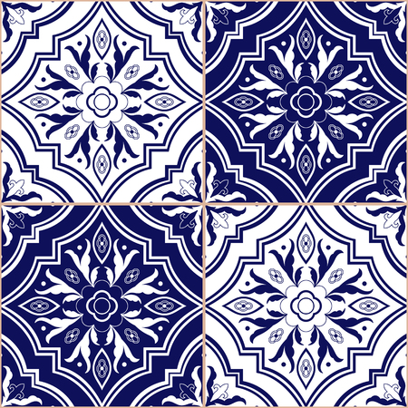 Mexican tile pattern vector seamless with ornaments. Portuguese azulejo, puebla talavera, italian majolica, spanish, delft dutch motif. Tiled texture for ceramic kitchen wall or bathroom mosaic floor.