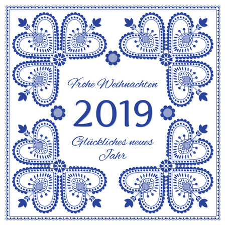 Nordic folk art season card vector template. Frohe Weihnachten & Gluckliches neues Jahr 2019 - Merry Christmas and Happy New Year in German. Blue and white folklore style design background. Ilustração