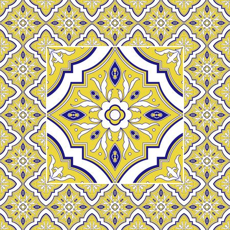 Portuguese tile pattern vector with vintage ornaments. Flower big texture tiled element in center with frame. Portugal azulejo ceramic, puebla mexican talavera, italian mosaic, spanish majolica.