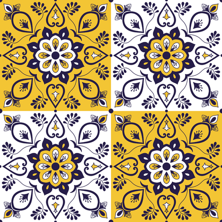 Moroccan tile pattern vector with baroque floral ornament. Portuguese azulejo, mexican talavera, spanish, italian majolica, arabic motifs. Tiled texture background for wallpaper or flooring ceramic. Ilustração