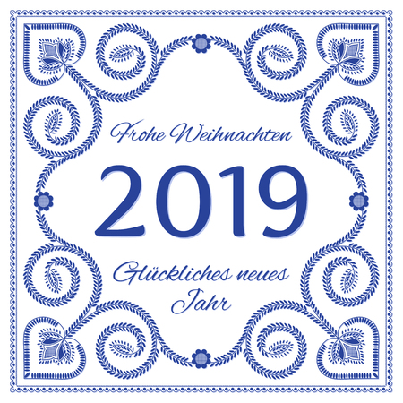 Nordic folk art season card vector template. Frohe Weihnachten und Gluckliches neues Jahr 2019 - Merry Christmas and Happy New Year in German language. Folklore style design, blue and white colors.