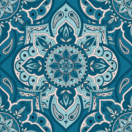 Floral indian paisley pattern vector seamless. Vintage flower ethnic ornament for indonesia batik sarong fabric. Oriental folk design for boho bedroom textile, yoga clothing, india luxury wedding. Ilustração