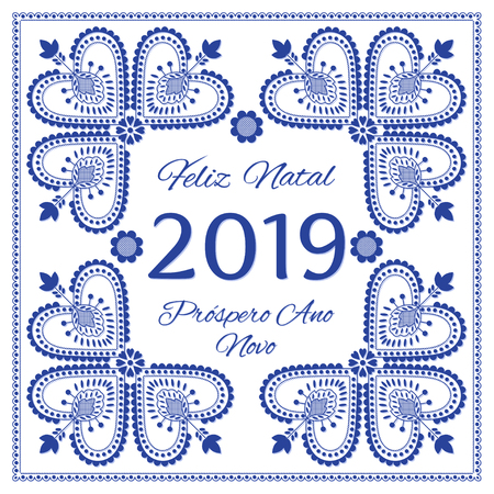 Nordic folk art season card vector template. Feliz Natal & Prospero Ano Novo 2019 - Merry Christmas and Happy New Year in Portuguese. Folklore embroidery style background design in blue and white. 矢量图像