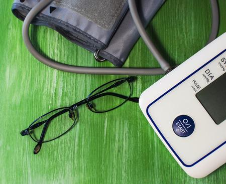 Tonometer, glasses. Hypertonia. Measurement of blood pressure Stock Photo