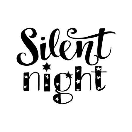 Silent Night festive quote hand drawn in modern calligraphy style. Vector illustration. For prints, web, posters, home decor.