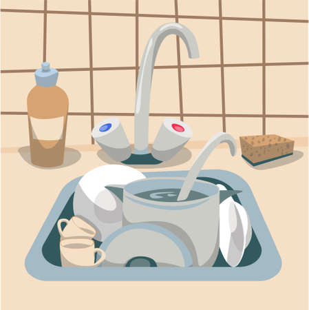 Kitchen sink with dirty dishes, vector illustration. Vector Illustration