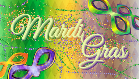 Vector carnival masks and beads on a gradient background with rhombus. Carnival Mardi Gras Illustration