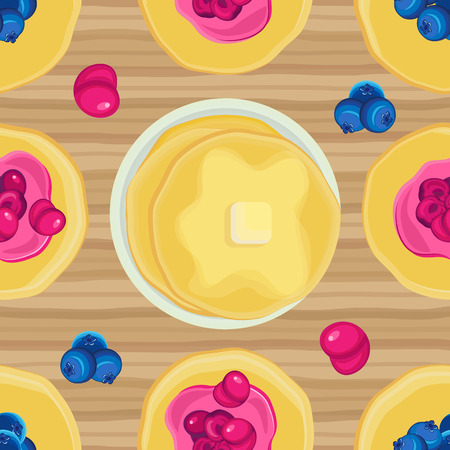 sweetstuff: Vector seamless pattern on Shrove Tuesday pancakes with jam on a wooden surface Illustration