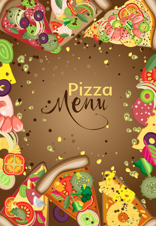 dark olive: Vector vertical frame of pieces of pizza and ingredients. You can use to create a menu, banner or advertising poster Illustration