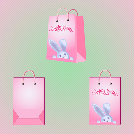 Pink vector paper bag peek-a-Boo Easter Bunny. Front view, perspective view, back view Illustration