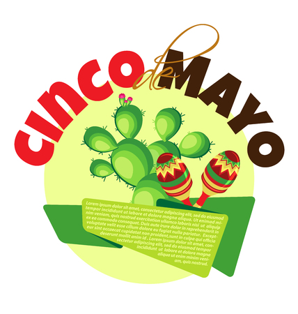 types of cactus: Vector image for a holiday of Cinco de Mayo. Cactus, banner and maracas on a pastel yellow circle