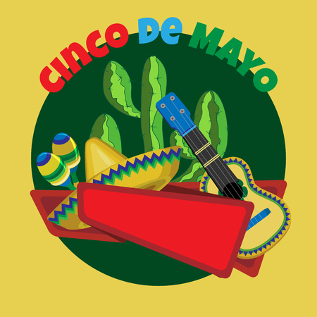types of cactus: Vector image for a holiday of Cinco de Mayo.Cactus, guitar, sombrero and maracas on a dark green circle. Red ribbon for the inscription. Dark yellow square background