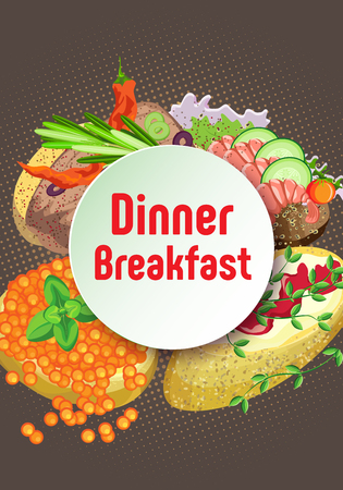 Vector pattern sandwich round ram for text diner breakfast. On a brown background with a beige halftone. Illustration