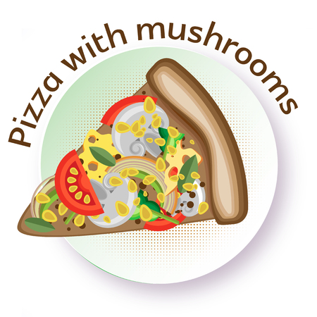 Pizza with mushrooms. Vector image of a triangular slice of pizza on a round plate. White background. Illustration