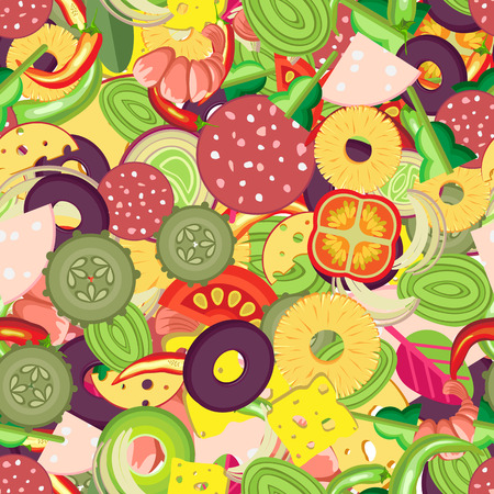 Vibrant vector seamless pattern for pizza toppings. Many pieces of different vegetables, sausages and whole shrimps