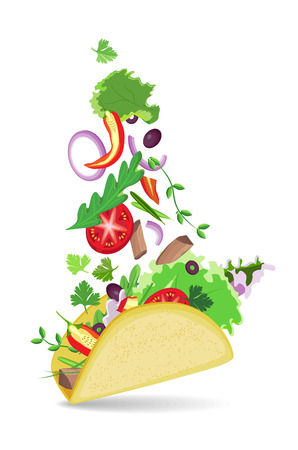 red onions: Isolated vector taco with shadow on transparent background. Falling vegetables in a flat cake
