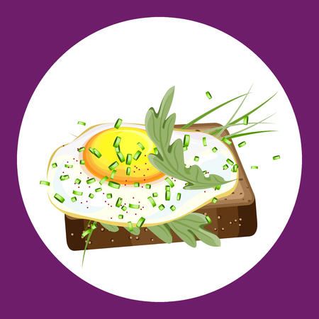Appetizing sandwich with a fried egg and greens. Vector illustration