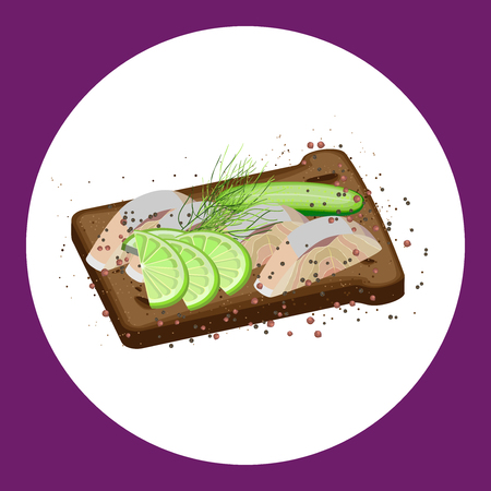 Sandwich on dark bread with slices of fish, cucumber and lime, seeding the spices. Vector illustration Illustration