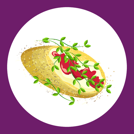 Appetizing sandwich with butter sauce and thyme. Vector illustration