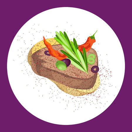 A delicious sandwich of roast beef, vegetables and seasoned with thyme Vector illustration
