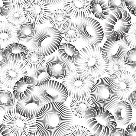 Vector seamless pattern of black gradient voluminous openwork rings on a white background Ilustracja