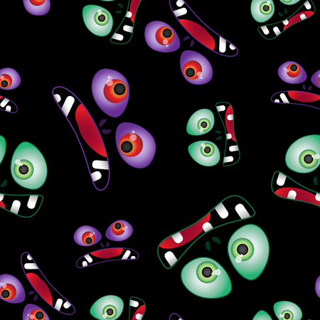 Vector seamless pattern. Color bared faces of monsters. For a Halloween party