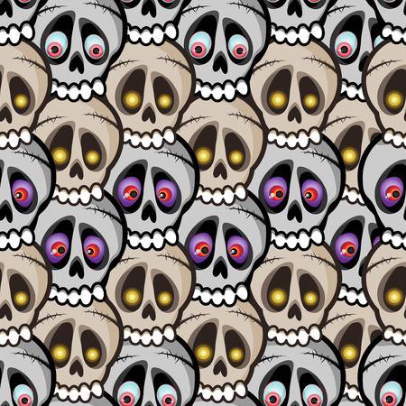 괴물의 눈으로 파도에 배열 베이지 색과 회색 두개골의 밀도 벡터 원활한 패턴 스톡 콘텐츠 - 88797556